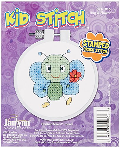 Janlynn 021-1816 Kid Bug & Flower Stamped Cross Stitch Kit,