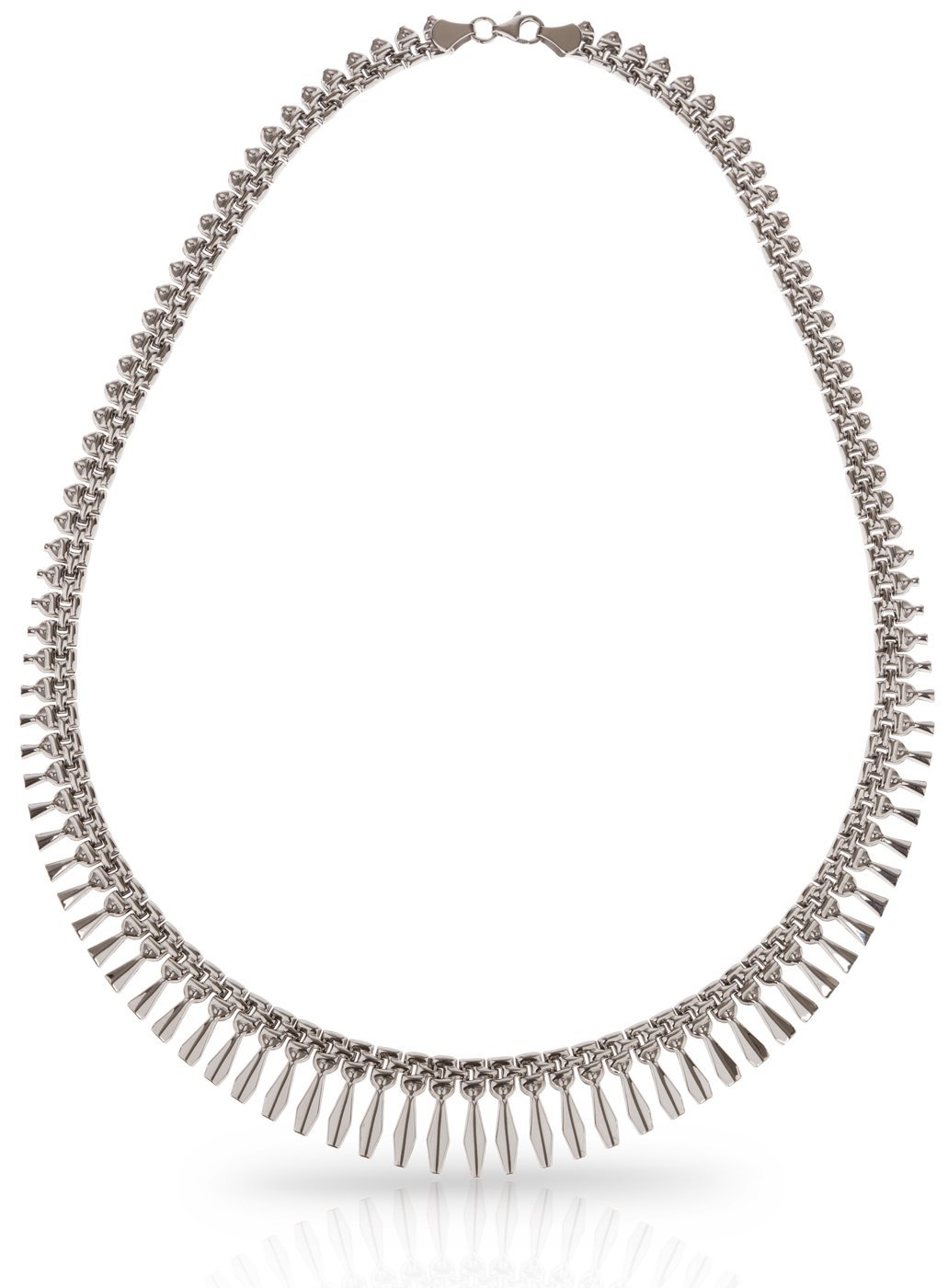 SilverLuxe Sterling Silver Rhodium Plated Graduated Design Bib Style Cleopatra Necklace