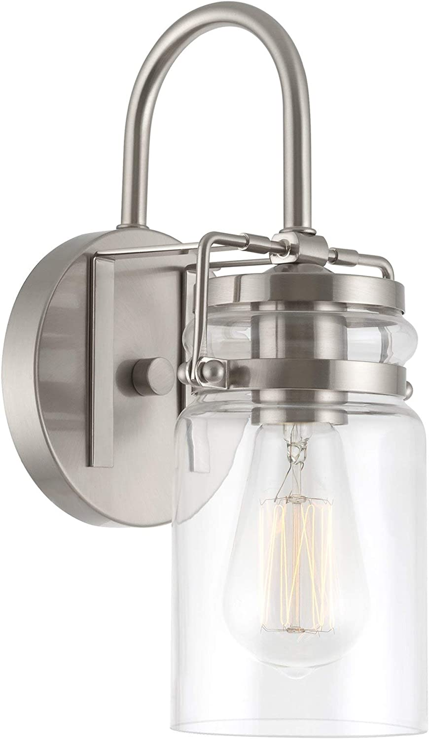 Brushed Nickel-2 Pack Finish Kichler 45576NI Brinley 1-Light Wall Sconce and Clear Glass Shade