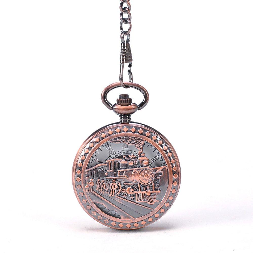 Train To Travel Copper Tone Roman Numbers Mechanical Pocket Watch Round Skeleton Steampunk New Deisgner Watch
