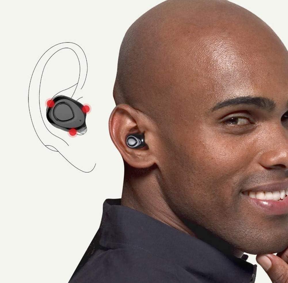Wireless bluetooth earbuds headphones earphone cordless sport headsets, Hi-Fi 2 built-in mic earphones charging case, magnetic earbuds, water proof, iOS power display,Black White