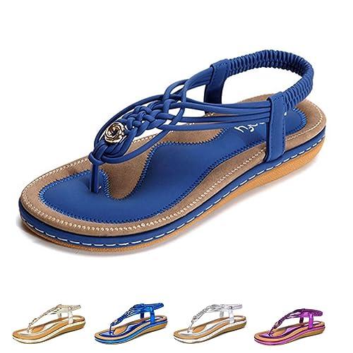 4c9d2aea gracosy Sandalias Planas Verano Mujer Estilo Bohemia Zapatos de Dedo  Sandalias Talla Grande Cinta Elástica Casuales