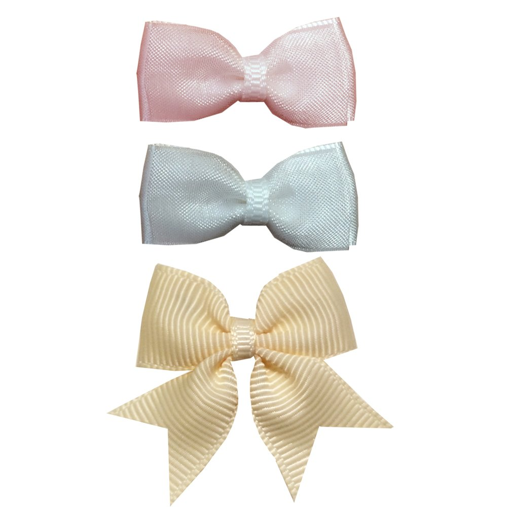 TruStay Clip baby bow value bundle - handmade infant hair bows (Pack3-Pink/White/Yellow)