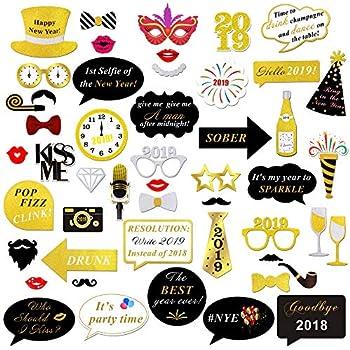 Amazoncom 2019 New Years Photo Booth Props Kit50pcskonsait