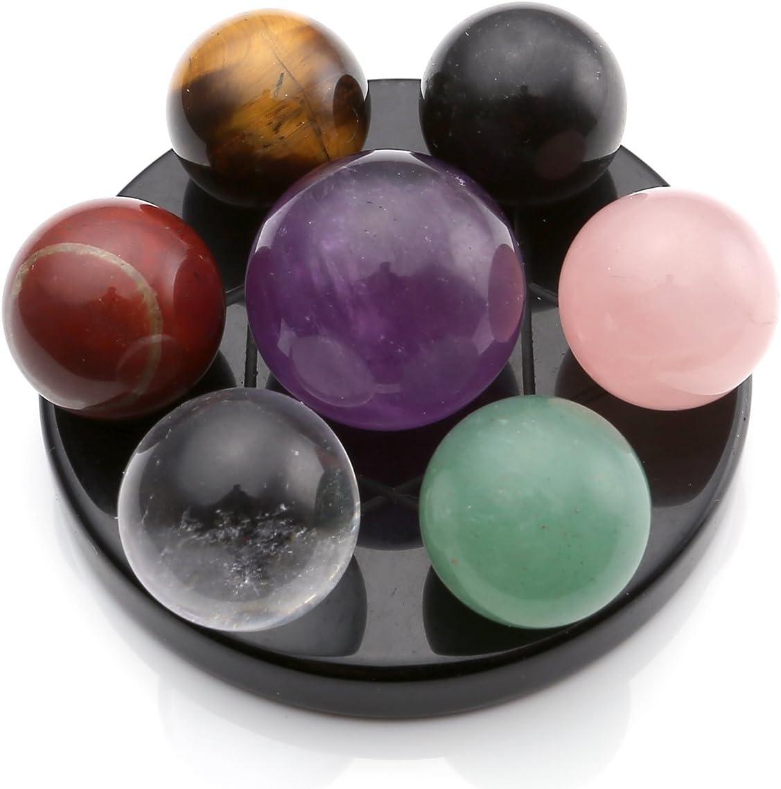 QGEM Juego de bolas de chakra de cristal en base de obsidiana, para sanación de reiki, 7 unidades, incluye caja