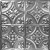American Tin Ceilings 24x24Nail-Up Tin Ceiling Tile Pattern #2, 5 Pack, Brushed Satin Nickel