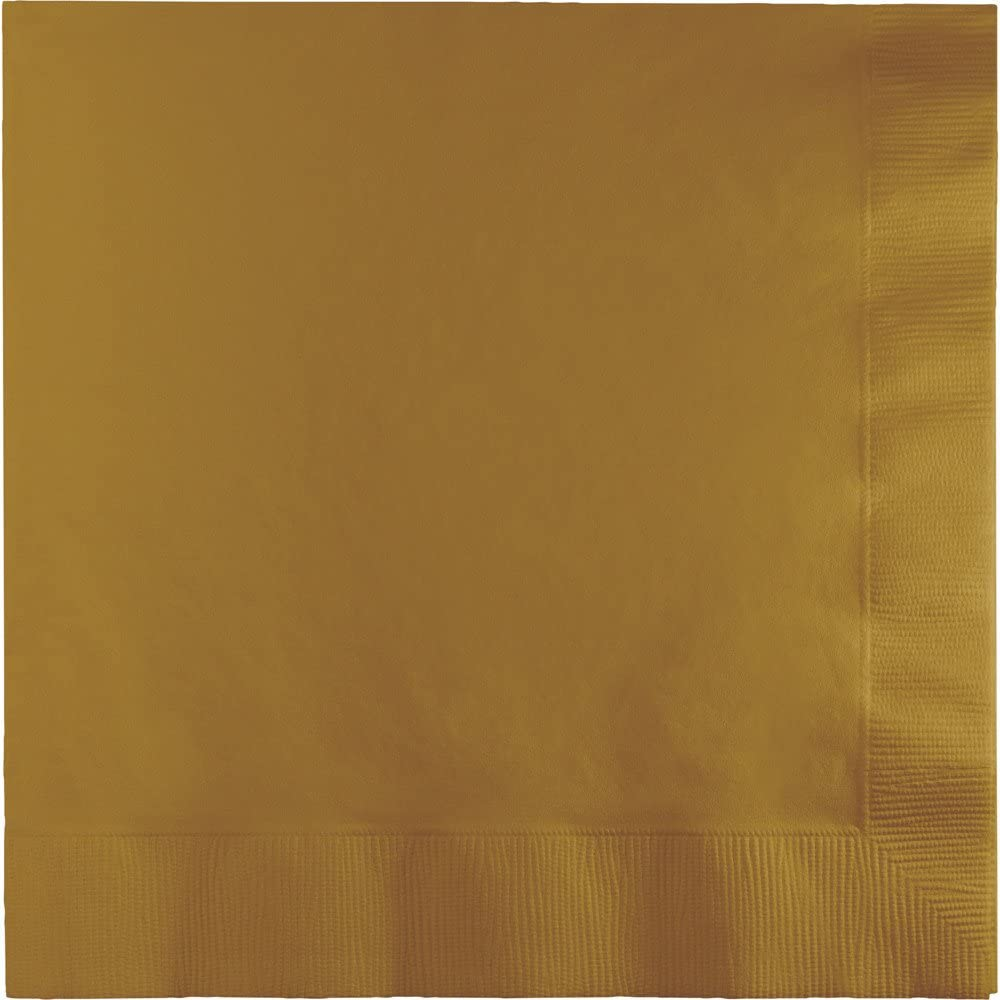 Creative Converting 250 Count Case Touch of Color 3-Ply Paper Dinner Napkins, Glittering Gold