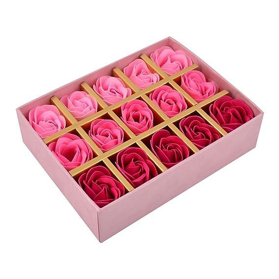 Amazon.com: eDealMax Caja de Papel Regalo de las Mujeres Flor de Rose Diseño Baño Lavado del Cuerpo Jabón del pétalo 15pcs Fucsia: Home & Kitchen