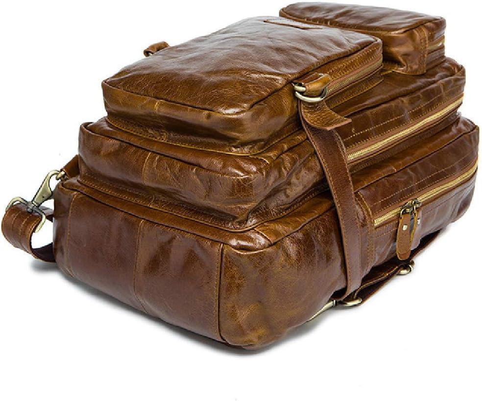BAG Large Genuine Leather Backpack for Laptop Travel roll top Rucksack for Men Women