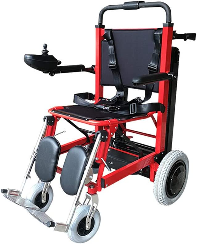 Silla de ruedas eléctrica plegable para subir escaleras - Puede subir escaleras Silla de ruedas portátil Viaje ligero, Puede ser como dispositivos de elevación Camilla Ayuda de movilidad para personas