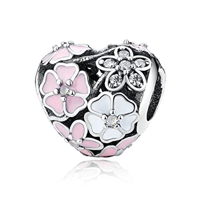 1a2fe2abd9969 Poetic Blooms Heart Charm 925 Sterling Silver Bead Charms With Mixed  Enamels & Clear CZ Fits Pandora, European Bracelets Compatible