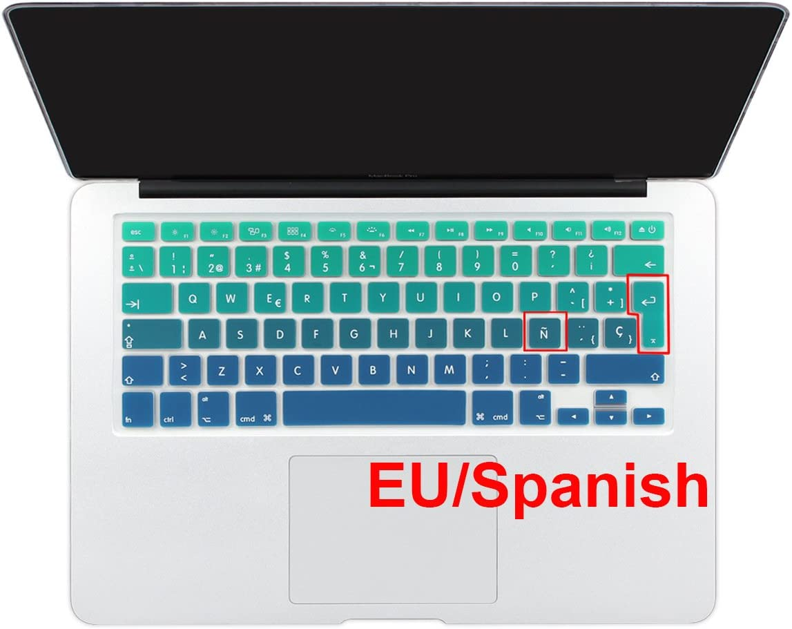 "Batianda Spanish ESP New Ombre Color Keyboard Cover Protector Waterproof Silicone Skin for MacBook Air 13"" Mac Pro 13"" 15"" 17"" (with or Without Retina Display) (Green Gradient)"