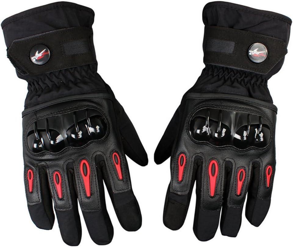 Bonnoeuvre Par Guante de moto Impermeable Guantes Dedo Completo PU Proteccion para Moto Bici Motocicleta Motorista puede pantalla táctil guantes de esquí Talla L (Negro)