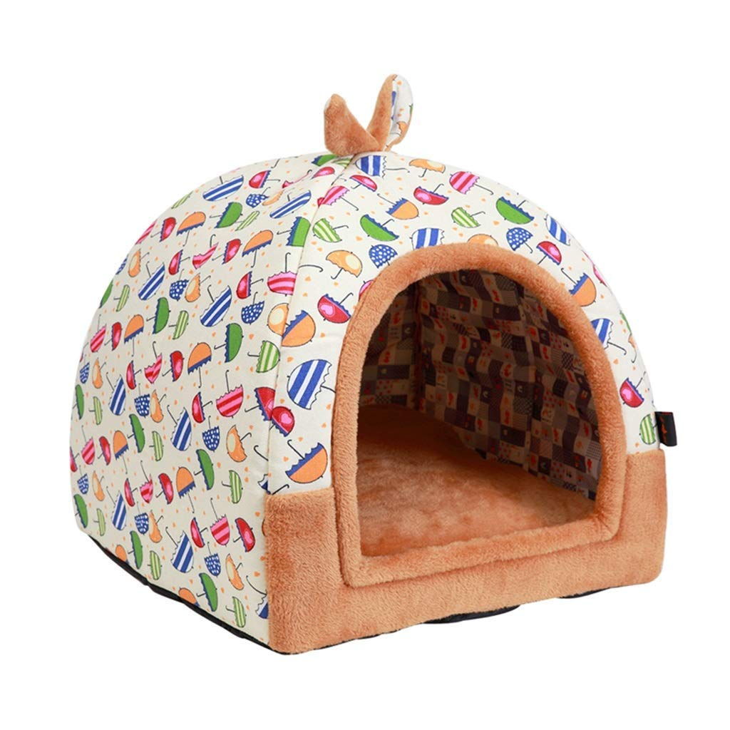M Gwanna Pet Bed Yurt Teddy Kennel Small and Medium Dog Pet Cat House Winter Dual Use Removable and Washable Indoor Portable (Size   L) Soft Pad for Pets Sleeping (Size   M)