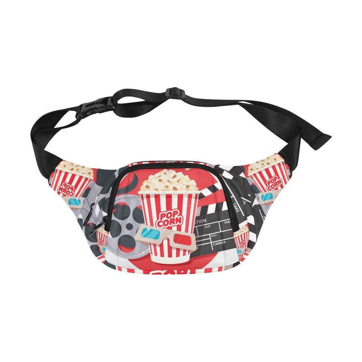 Movie Clapper And Film Reel Cinema Fenny Packs Waist Bags Adjustable Belt Waterproof Nylon Travel Running Sport Vacation Party For Men Women Boys Girls Kids