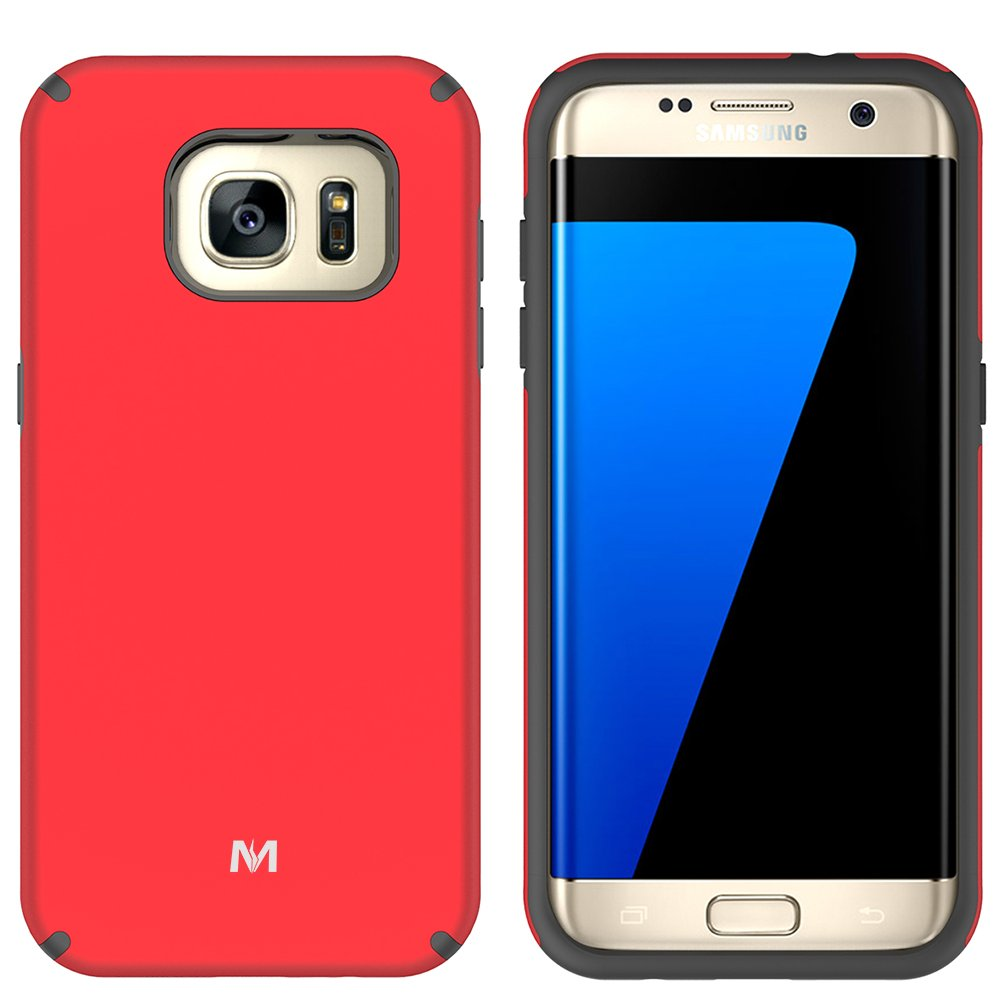 S7 Edge Case, Galaxy S7 Edge Case, MagicSky Slim Corner Protection Shock Absorption Hybrid Dual Layer Armor Defender Protective Case Cover for Samsung Galaxy S7 Edge (Red)