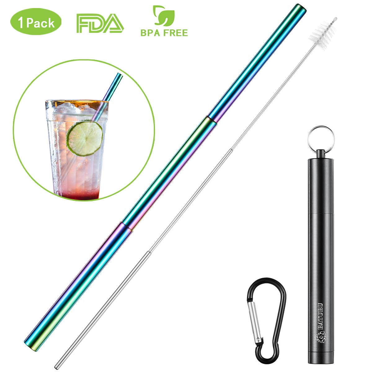 reusable collabsible stainless steel straw