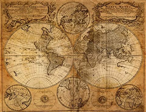 10.5-Feet wide by 8-Feet high. Prepasted wallpaper high quality full wall size mural from a photo of: Old World Map. Easy to hang remove and reuse(hang again) If U do as in our video. 126