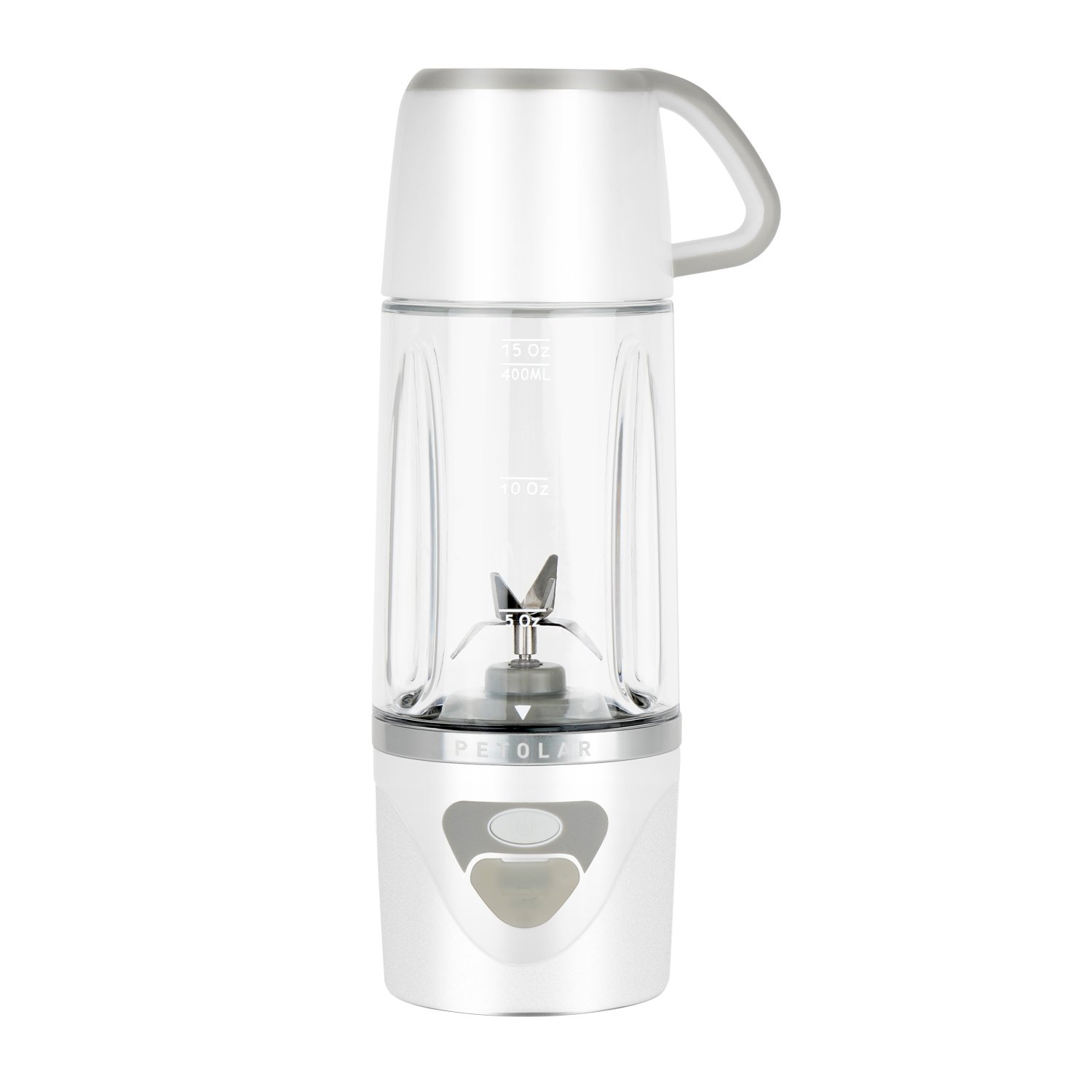Portable Blender Smoothie Juicer USB Rechargeable Mini Personal Size for Travel (White) PETOLAR