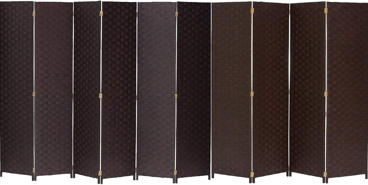 Legacy Decor Bamboo Woven Panel Room Divider, Privacy Partition Screen, 3, 4, 6, 7, 8 or 10 Panels Brown, Black, Beige, or Ivory Color Brown, 10 Panel