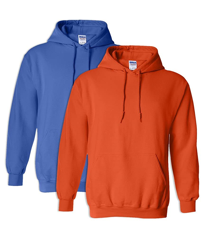 1 Orange Gildan G18500 Heavy Blend Adult Unisex Hooded Sweatshirt M 1 Royal