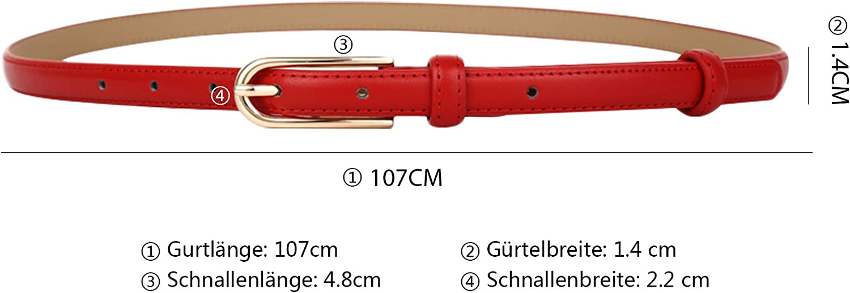 MARRYME Damen Lederg/ürtel Jeansg/ürtel Tailleng/ürtel Schmal G/ürtel f/ür Kleider K/ürzbar Belt Kunstleder-G/ürtel Gesamtl/änge 107cm