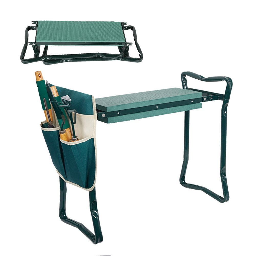 Dporticus 2 in 1 Foldable Gardening Kneeler Seat Bench Portable Stool with EAV Kneeling Pad and 2 Pouches