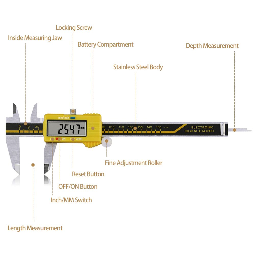 Digital Caliper Stainless Steel Body Electronic Gauge Vernier with LCD Screen High Precision 150mm/6inch Measuring Tool Inch/Metric Conversion (Yellow) by pcmos (Image #1)