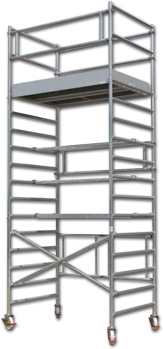 Made in Germany 6 m Spar inkl T/ÜV-gepr/üft Rollen Arbeitsh/öhe 3 m bis 14 m Alu Ger/üst Aluminium Rollger/üst Fahrger/üst Klappger/üst Bauger/üst Zimmerger/üst Arbeitsplattform Profiger/üst: ALTEC AluKlik XXL