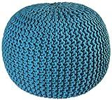 Pouf Ottoman Cotton Rope Pouf Ottoman, Blue, 16-Inch