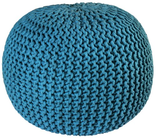 Cotton Round Ottoman (Pouf Ottoman Cotton Rope Pouf Ottoman, Blue, 16-Inch)