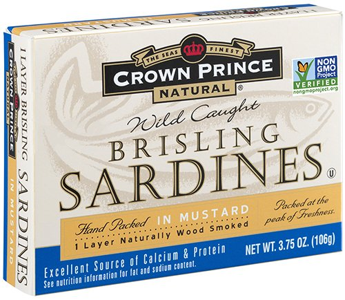 Crown Prince Natural One Layer Brisling Sardines in Mustard, 3.75-Ounce Cans (Pack of - Crown Omega