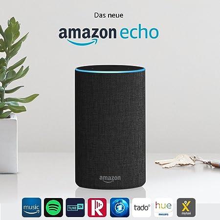 Amazon Echo, Zertifiziert und generalüberholt, (2. Generation), Anthrazit Stoff