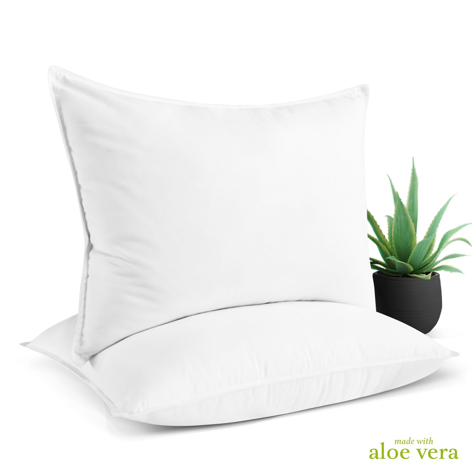 Aloe Vera Hotel Collection Gel Pillow (2 Pack) – Luxury Plush Pillows with All-Natural Pure Aloe Vera Treatment
