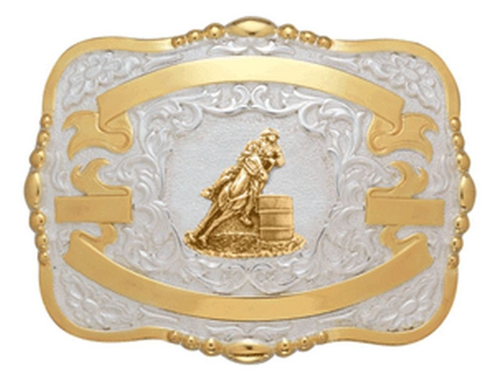 Crumrine Belt Buckle Girls Kid Barrel Racer 3 1/4 x 4 1/2 Gold 384