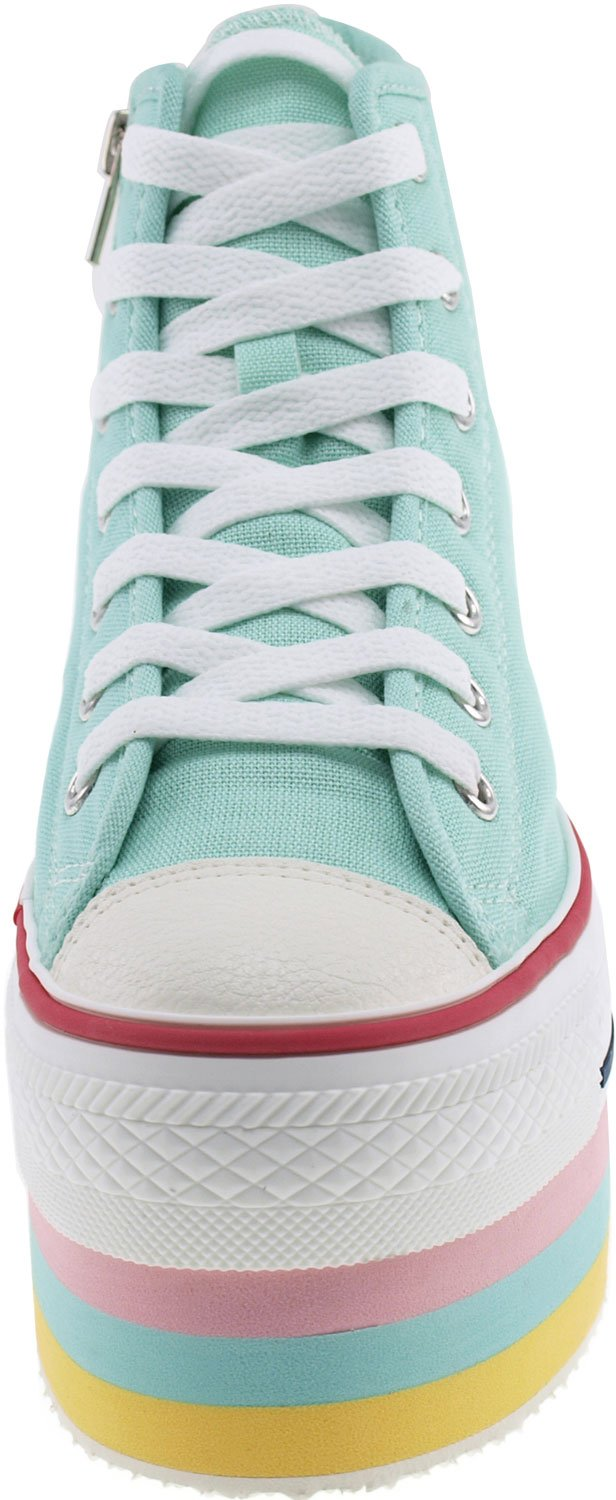 CN9 8 Holes Double Platform Denim Studed Taller Insole High Top Sneakers B00CLM77O2 6 B(M) US|Mint