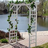 White Pergola Arbor 7ft. Maintenance Free PVC Vinyl Construction Charming Flat Top with Latticed Side Panels UV Protected Against Fading Cracking Patio Garden Home Outdoor Living Furniture