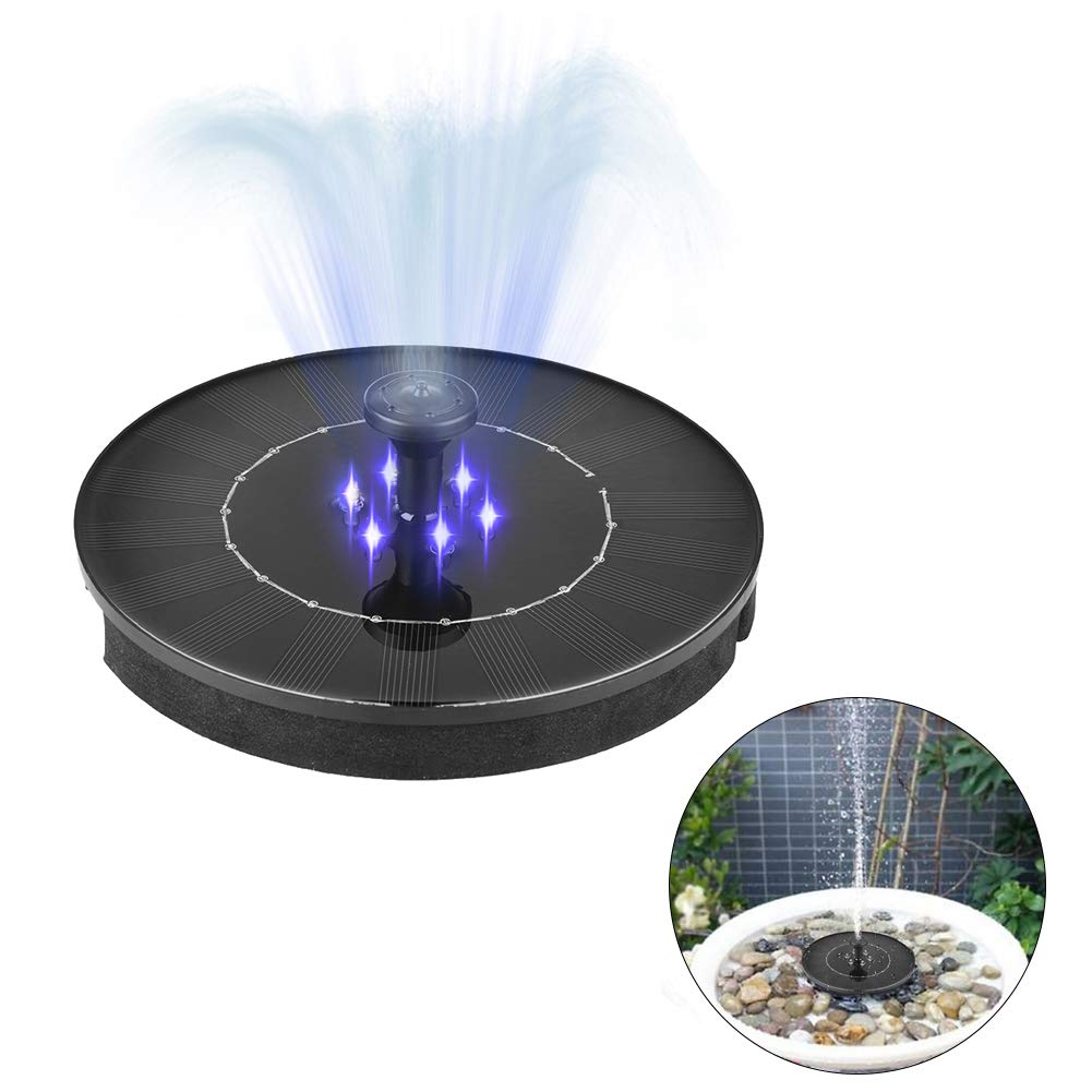 zqasales Solar Bird Bath Fountain Pump 2W Waterproof LED Solar Panel with Submersible Pump for Bird Bath Garden Fountain (Black with LED)
