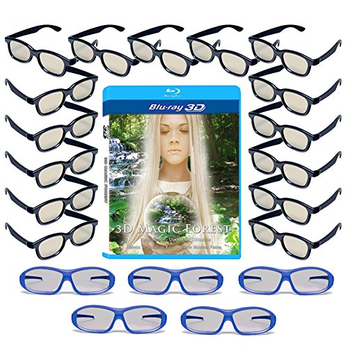 20 Universal Passive 3D Glasses Family Pack for LG, SONY and all other Passive 3D TV's - Plastic 3-D Glasses - Includes 3D Blu-ray, 5 Premium Master Image and 15 Adult RealD Compatible 3D Glasses