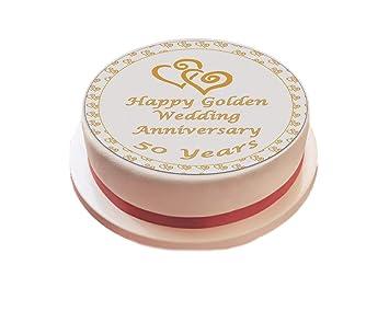 Goldene Hochzeit Kuchen Topper Essbar Zuckerguss 7 5 Deko Amazon