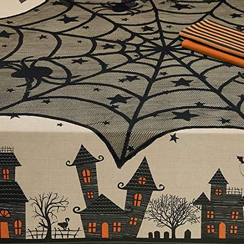 Staron  Round Tablecloth Halloween, Halloween Spider Table Cloth Round Web Tablecloth Topper Covers Fireplace Table Party Decor ()