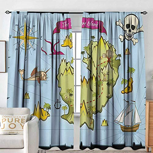 Olive Kids Pirates Treasure Map - Petpany Window Blackout Curtains Island Map,Treasure Island Skull Nautical Design Pirate Theme Fictional Fish Kids Theme,Multicolor,for Room Darkening Panels for Living Room, Bedroom 60