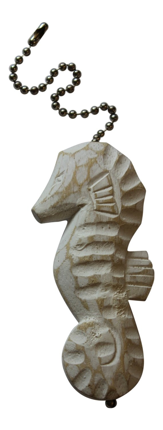 Seahorse Whitewashed Finish Ceiling Fan Pull Hand Carved Wood