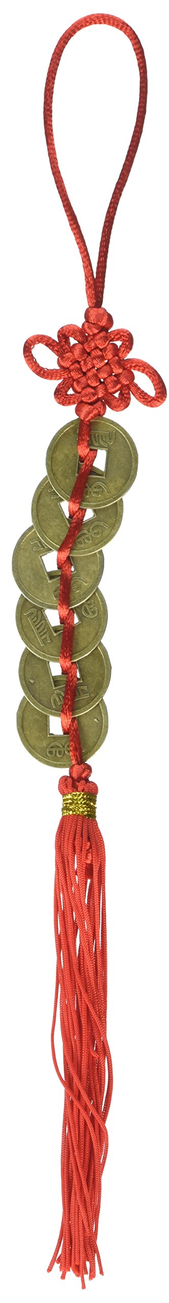 StealStreet 42322 Six Coin Chinese Character Decorative Ornament/Hanger, 12.5'', Red