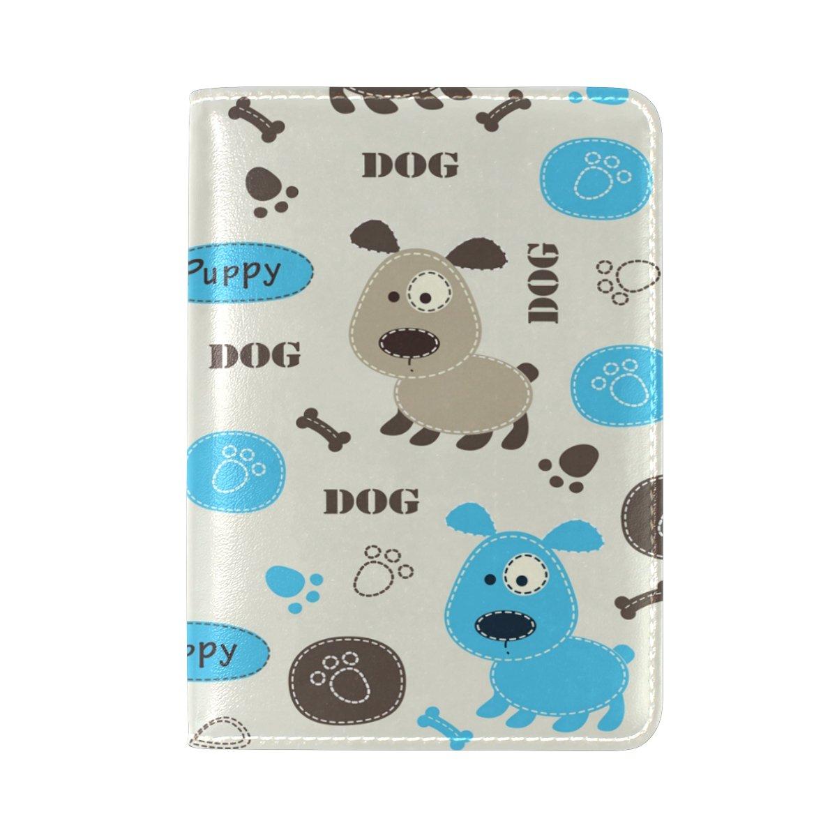 YuihomeFunny Dogs 本革パスポートホルダーカバーケース トラベルウォレット B07F28TC3T