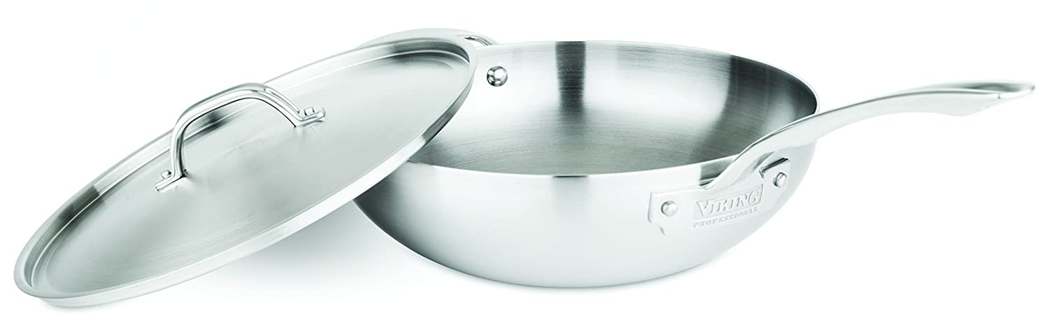 Viking Professional 5-Ply Stainless Steel Chef's Pan with Lid, 12 Inch Viking Culinary 40061-0712-STN