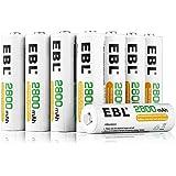 EBL 2800mAh AA de Alta Capacidad Ni-MH 1200 Ciclo de Pilas Recargables para los Equipos Domésticos con Estuches de…