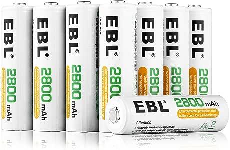 EBL 2800mAh AA de Alta Capacidad Ni-MH 1200 Ciclo de Pilas Recargables para los Equipos Domésticos con Estuches de Almacenamiento (8 Piezas): Amazon.es: Electrónica