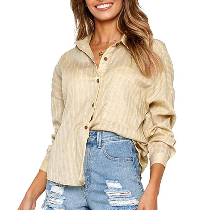 botón Largo de la Blusa para Mujer, botón Suelto Camisa Larga Vestido de