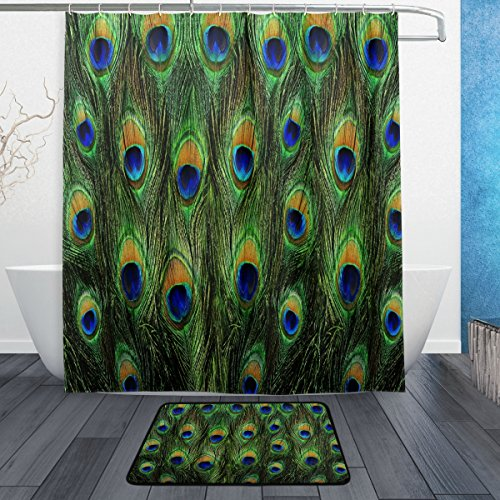 Durable Modeling ALAZA Set Of 2 Colorful Peacock Feather 60 X 72 Inches Shower Curtain And